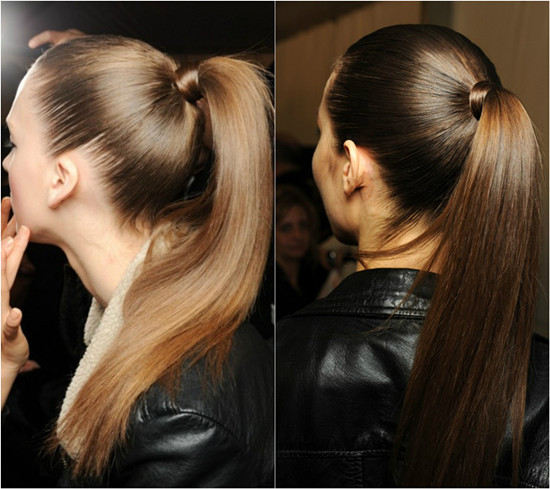Banded Ponytail for Straightened Hair or Straight Long Hair